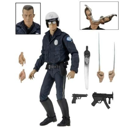 NECA Terminator 2: Judgement Day Ultimate T-1000 (Motorcycle Cop) Action Figure