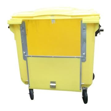 1100lt Yellow Drop Front Four Wheeled Bin