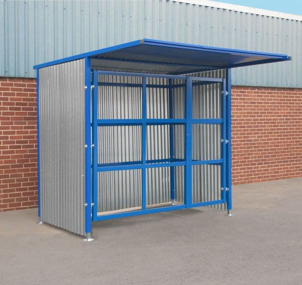 Covered Drum Storage Shelter - Double Gated Open Front