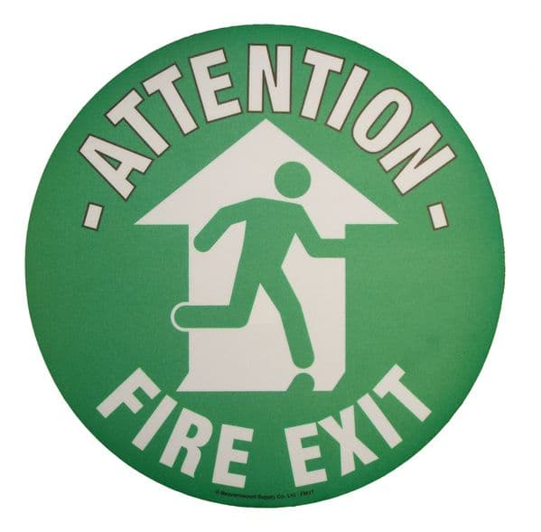 Attention Fire Exit Floor Graphic Marker