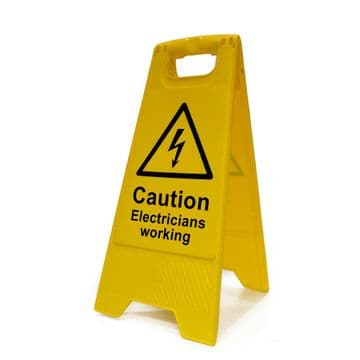 Caution Electricians Working A Frame Safety Sign