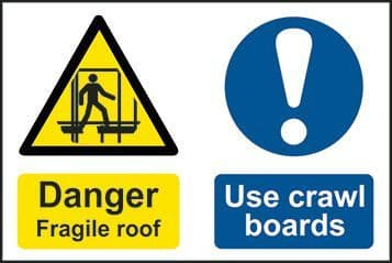 Danger Fragile Roof Use Crawling Boards Multi Message Sign