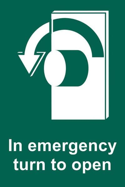 In Emergency Turn Anti Clockwise To Open Sign