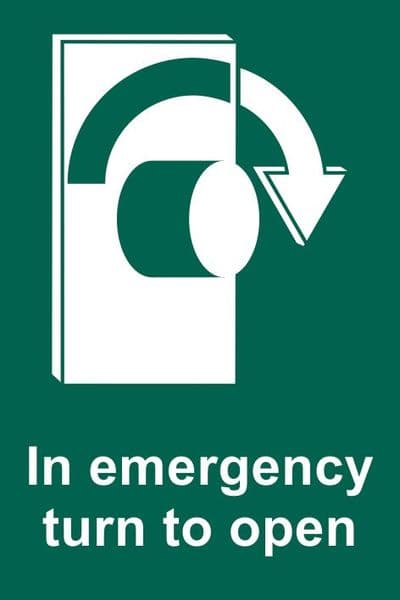 In Emergency Turn Clockwise To Open Sign