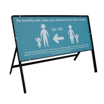 Keep 2 Metres Apart Steel Freestanding Safety Sign - 1050x450mm