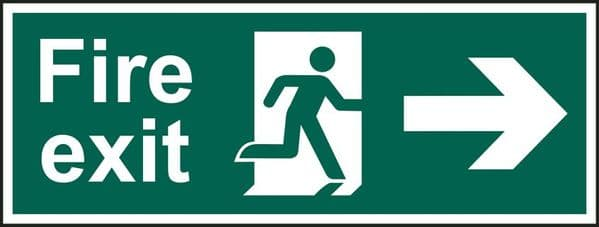 Right Arrow Fire Exit Sign