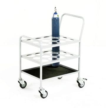 Small Cylinder Trolley for 12 x Size D or E oxygen cylinders