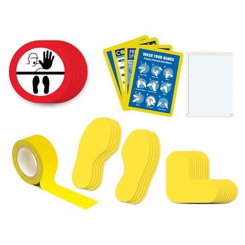 Social Distancing Floor Marker Sticker - Stop Symbol: Kit 3