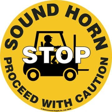 Sound Horn STOP Proceed with Caution Floor Graphic Marker