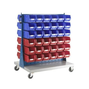 Topstore Double Sided Louvred Panel Trolley TC Small Parts Storage Container Kits