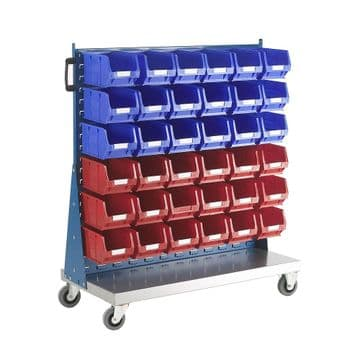 Topstore Single Sided Louvred Panel Trolley TC Small Parts Storage Container Kits