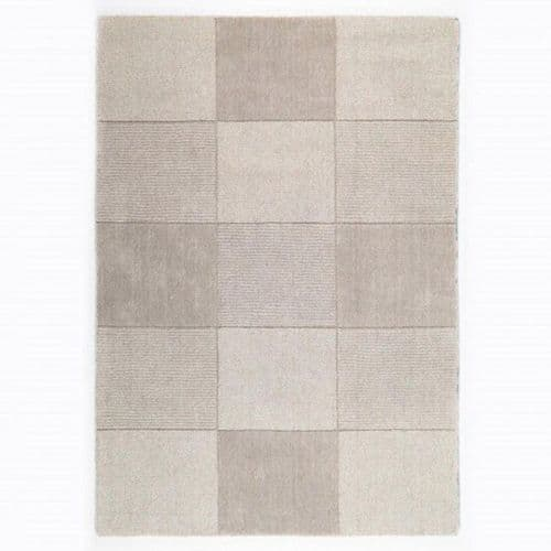 Wool Squares Beige Chequered Rug