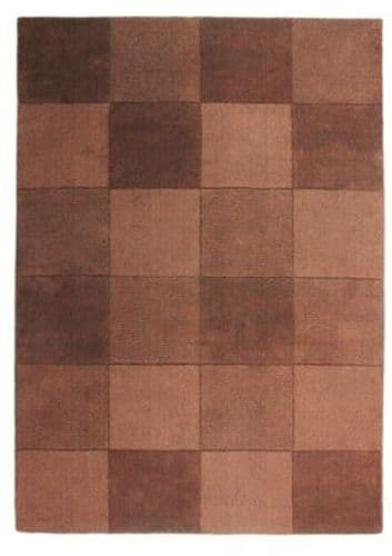 Wool Squares Chocolate Chequered Rug 75x150cm