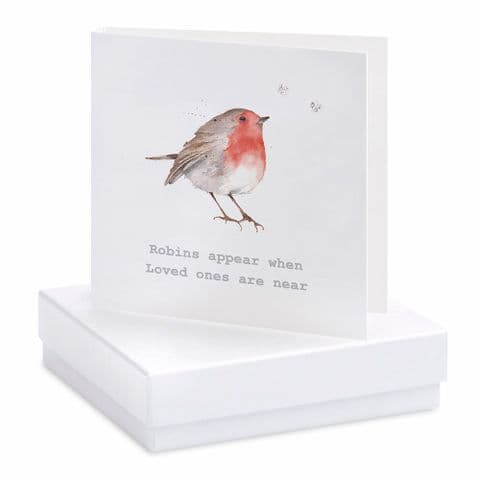 Boxed Robins Appear Earrings Card