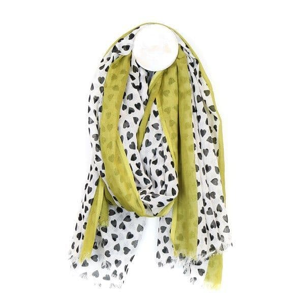 Cotton Scarf in white with Black Heart Print & Lime Stripe