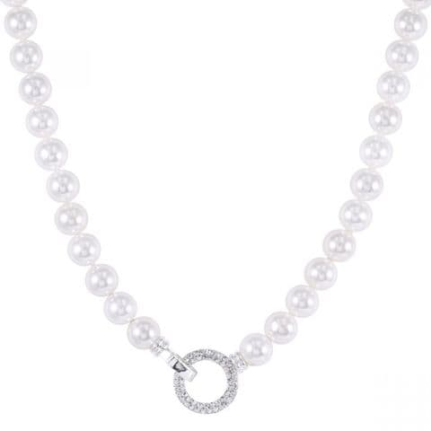D & X | Coco Silver Mother of Pearl and Cubic Zirconia Short Necklace