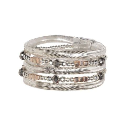D & X | Eternal Silver Rose Gold and Crystal Multi-row Magnetic Bracelet