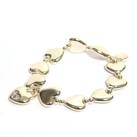 Envy Heart Gold Plated Bracelet with Diamante Charm