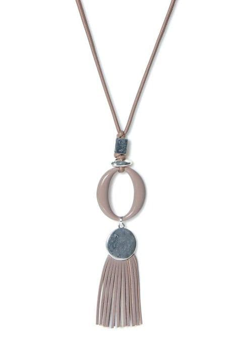 Envy Long Feature Circle and Tassle Necklace