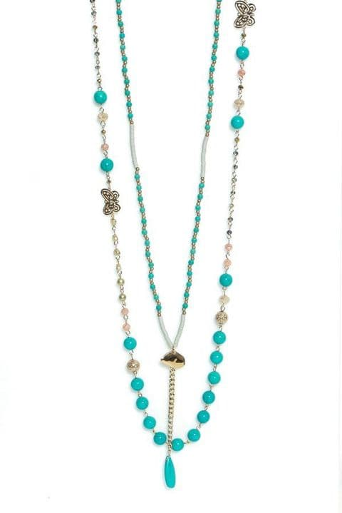 Envy Long Turquoise Beaded Necklace