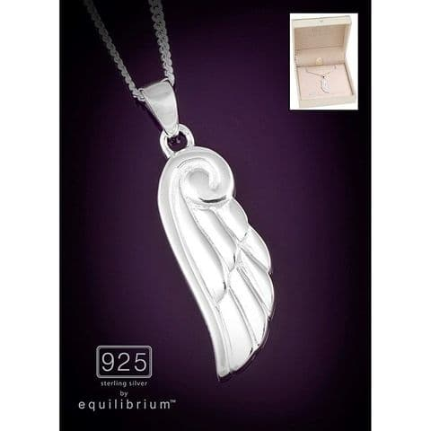 Equilibrium Silver Necklace Angel Wing