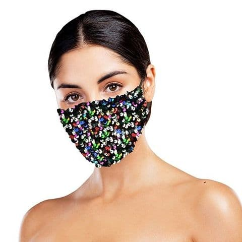 Multi Coloured  Sequinned Face Covering