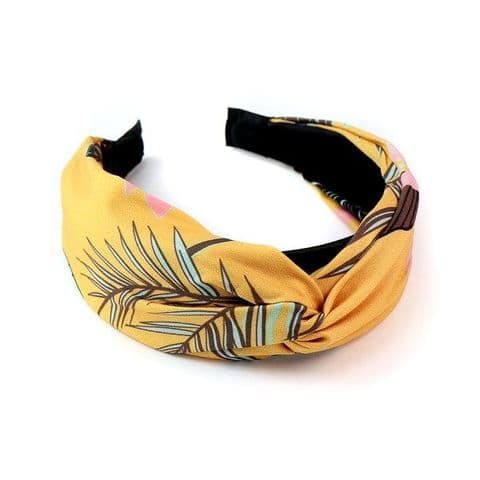 Mustard Fabric covered Headband with Tropical Print