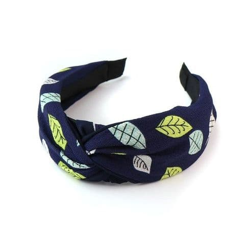 Navy Fabric Covered Headband with Leaf Print