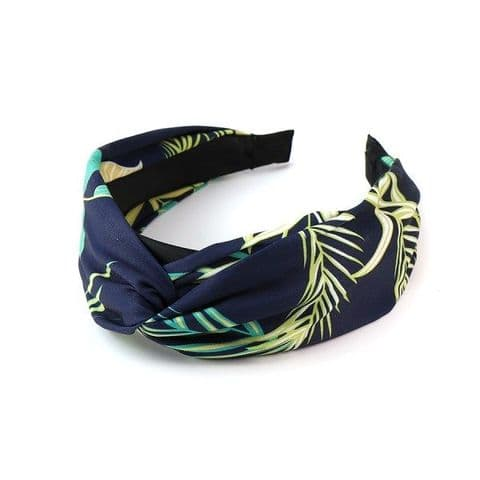 Navy Fabric Covered Headband with Tropical Print