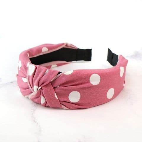Pink Fabric Covered Headband with Large White Polkadots