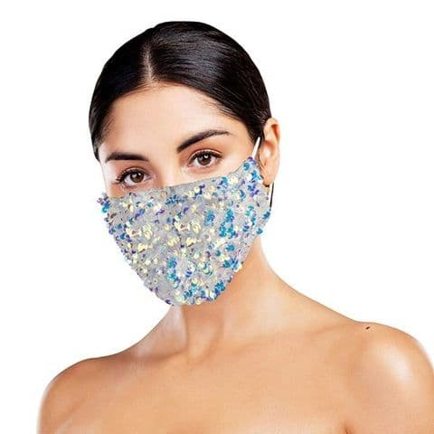 Sequinned Face Covering Dazzle White