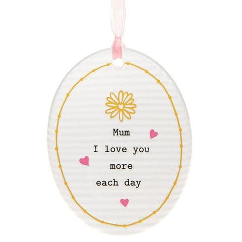 Thoughtful Words Mother's Day Oval Plaque | I love you more each day