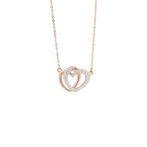 'Angelina' Two entwined heart necklace