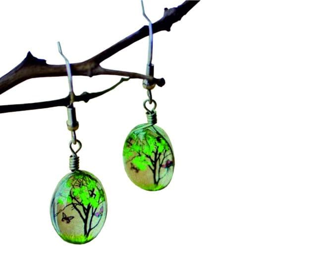 Creative Real Dried Plant Flower Earrings