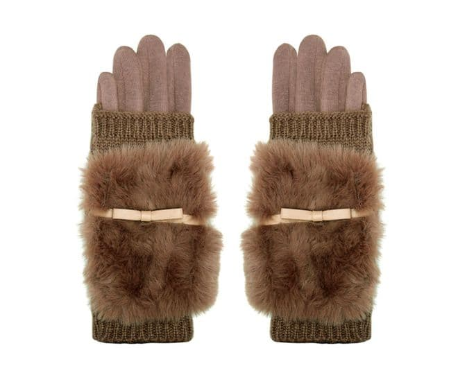 Furry Knit Gloves