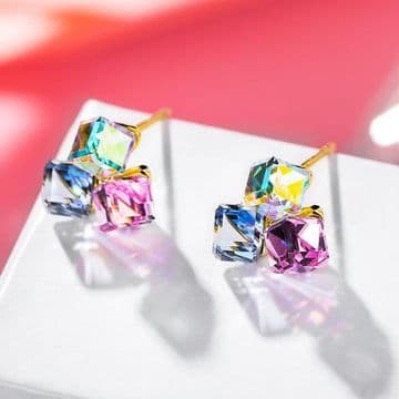 Golden Pin Square Candy Earrings