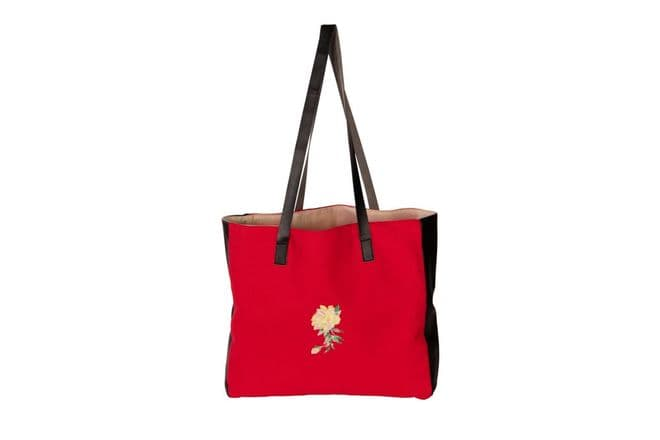 Red Aida Open Tote With Embroidery Organic Handbag