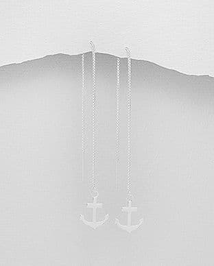 Sterling Silver Anchor Thread Earrings