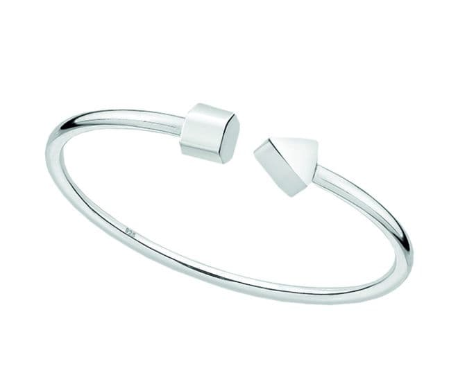 Sterling Silver Hexagon And Triangle Cuff Bangle