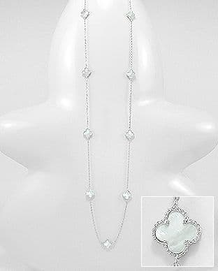 Sterling Silver Long Clover Necklace