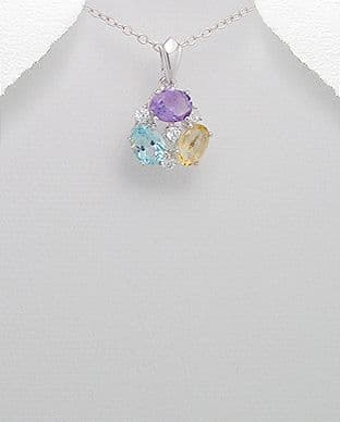 Sterling Silver Mixed Stones Pendant