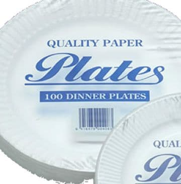 Paper plates (23cm) Pack of 100