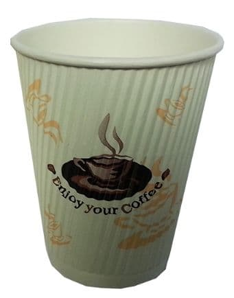 Rippled 12oz Hot Beverage Cups / Disposable coffee Cups (25 Per Pack)