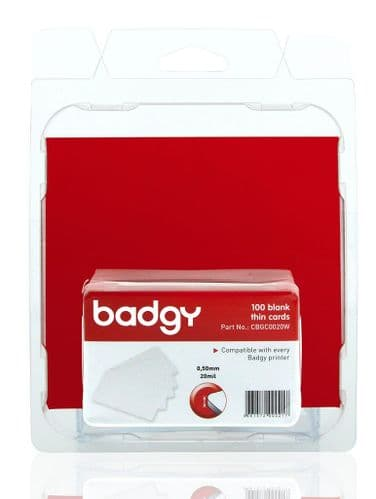 Badgy100&200 - 100 Blank Thin PVC Cards, CBGC0020W