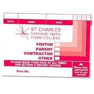 Branded Visitor Passes in sign-in system - 1 Colour