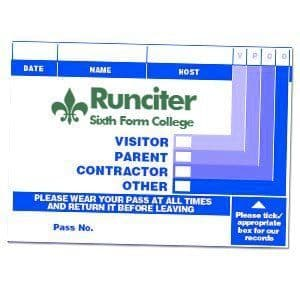Branded Visitor Passes in sign-in system - 2 Colours