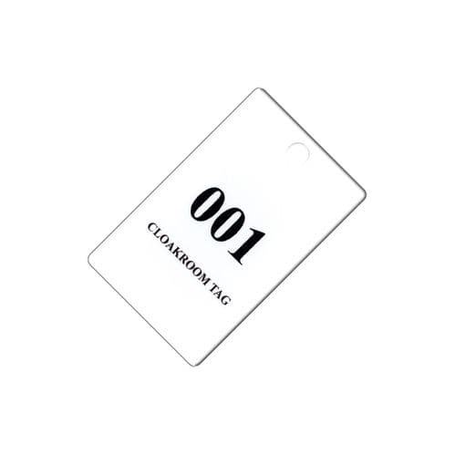 Plastic Cloakroom Tags, Packs of 100 Numbered, Matched Pairs