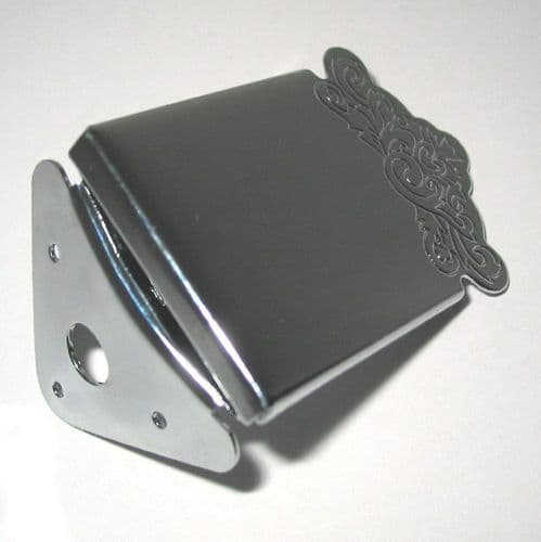 Engraved Mandolin Tailpiece-cover plate  chrome, 3 screw fixing.
