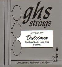 GHS D20S Mountain Dulcimer Strings-stainless steel, wound, loop ended