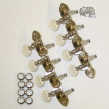 Gotoh M120S Mandolin,  Mandolin Banjo Tuners- side fit engraved, nickel plated,white button.